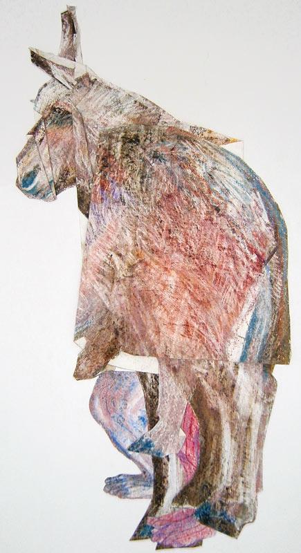 Podane de Patrick Chambon collage-pastel sur papier 50 x 100 cm 2013