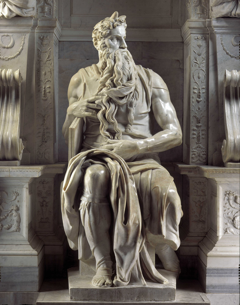 Mausolee de Jules II : Moise, 1513-1545. Sculpture de la renaissance realisee par Michelangelo Buonarroti dit Michel-Ange (Michelange ou Michel Ange, 1475 - 1564). Eglise San Pietro in Vincoli, Rome. ©Jemolo/Leemage